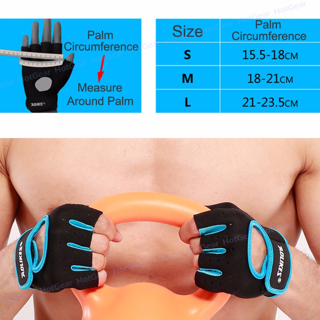 GYM Gloves - Fitness Workout Exercise Sports Cycling Half Finger Glove / Anti Slip Silica Gel Dot Palm / Weightlifting Cross Training Bodybuilding also for Bike Scooter Riding without wrist wrap Quality Sport Gear Men & Women (Pair)