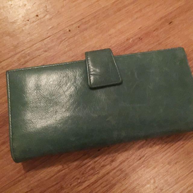 Jade-coloured Genuine Leather Wallet