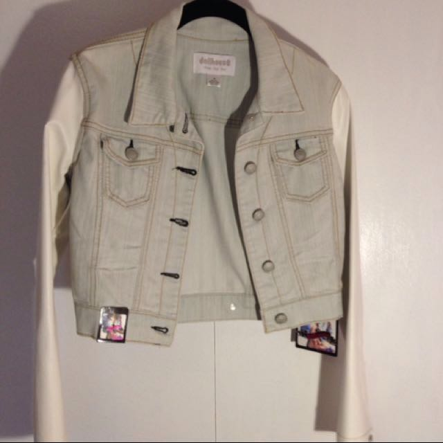 Jean Jacket With Pleather Sleeves