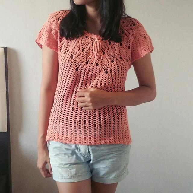Boho Knitted Rajut Orange Top