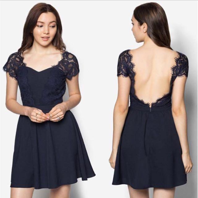 Lace V Back Dress (Navy)