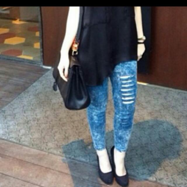 Leging Look Jeans Ripped