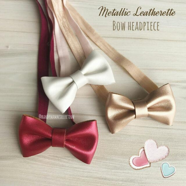 Metalic Leatherette Bow Headpiece