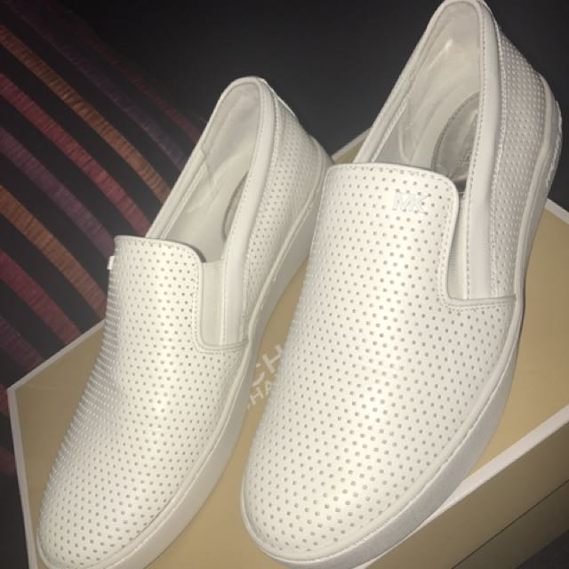Michael Kors White Slip On Shoes