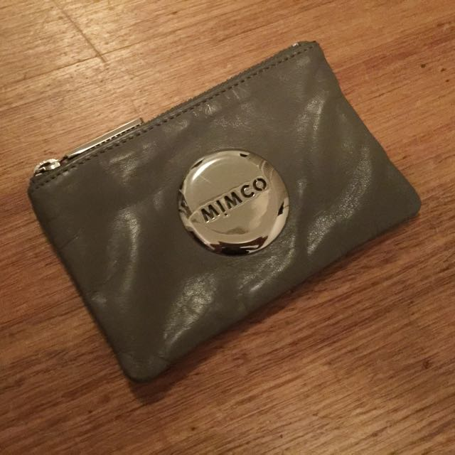 Mimco Grey Pouch Small with Silver Hardware