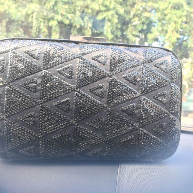 Mimco Sequin Hard Case Clutch Black