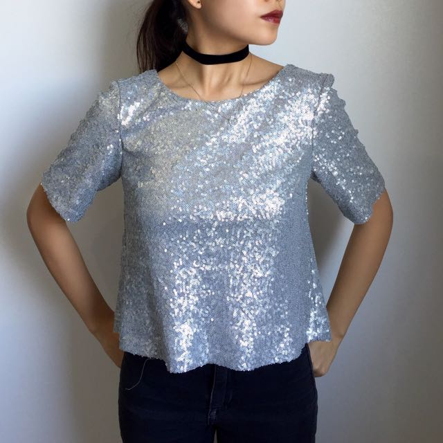 Miss Selfridge Sequinned Top