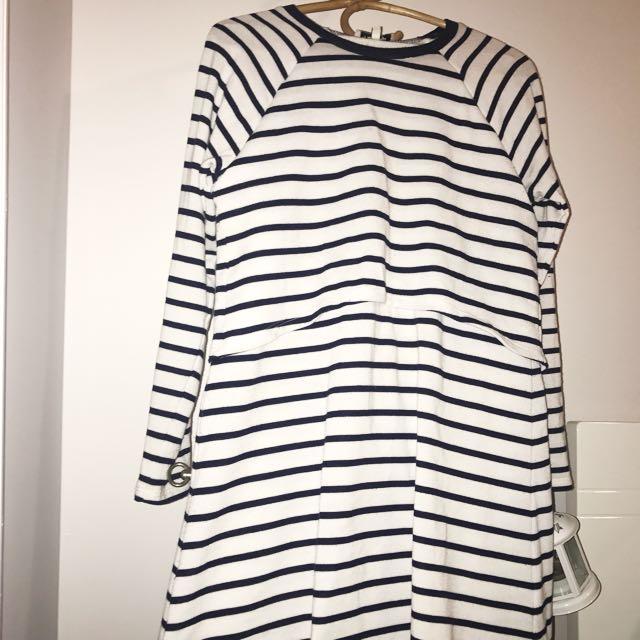 Miss Shop Striped Layered Long Sleeve Dress