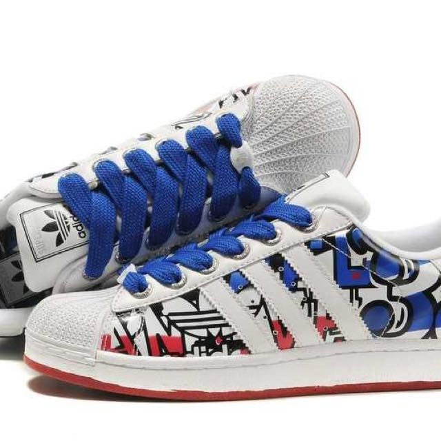 NEW Adidas Superstar 35th Anniversary White Blue Red shoes - US sz 10