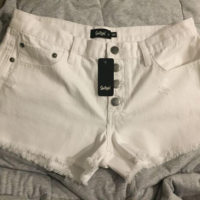 NEW Sportsgirl White Shorts size 10