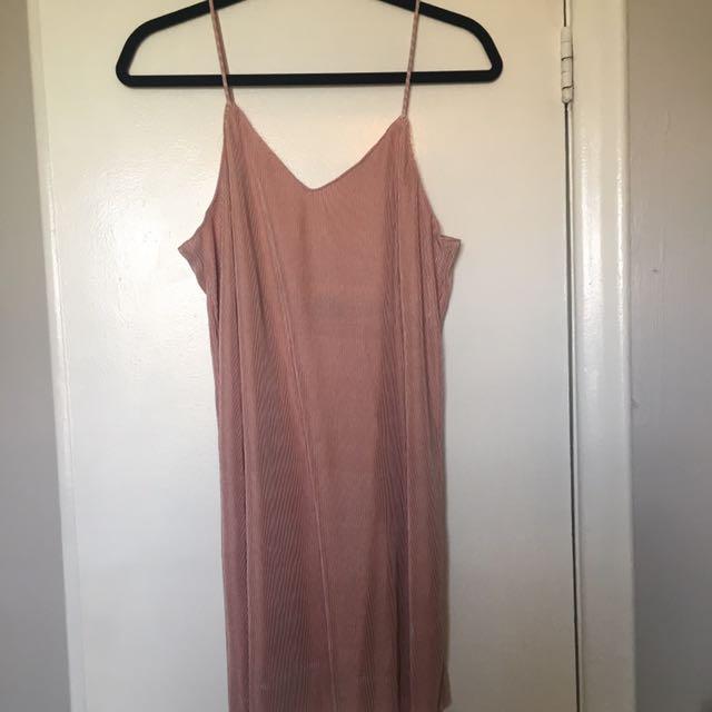 Pink Ribbed Slip Dress