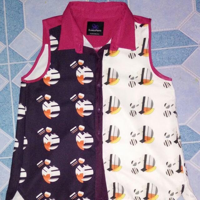 plains and prints sleeveless blouse