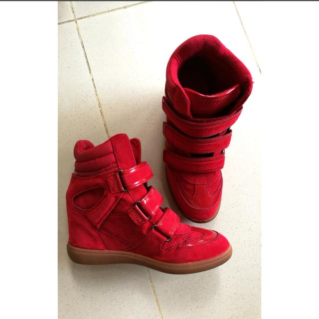 75a3a2f05e85 Preloved aldo wedge sneakers red womens fashion shoes on carousell jpg  640x640 Aldo red wedge sneakers
