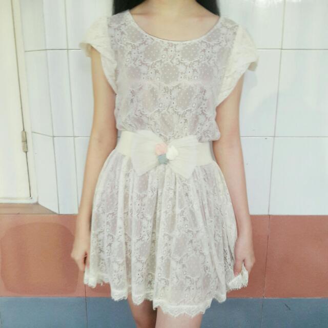 [PRELOVED] CHERRY CHAN WHITE DRESS