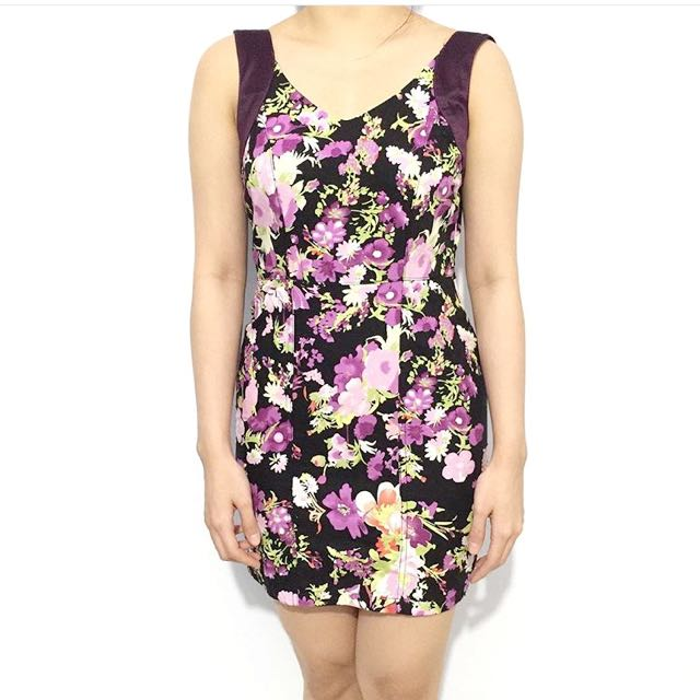 Purple Floral Bodycon