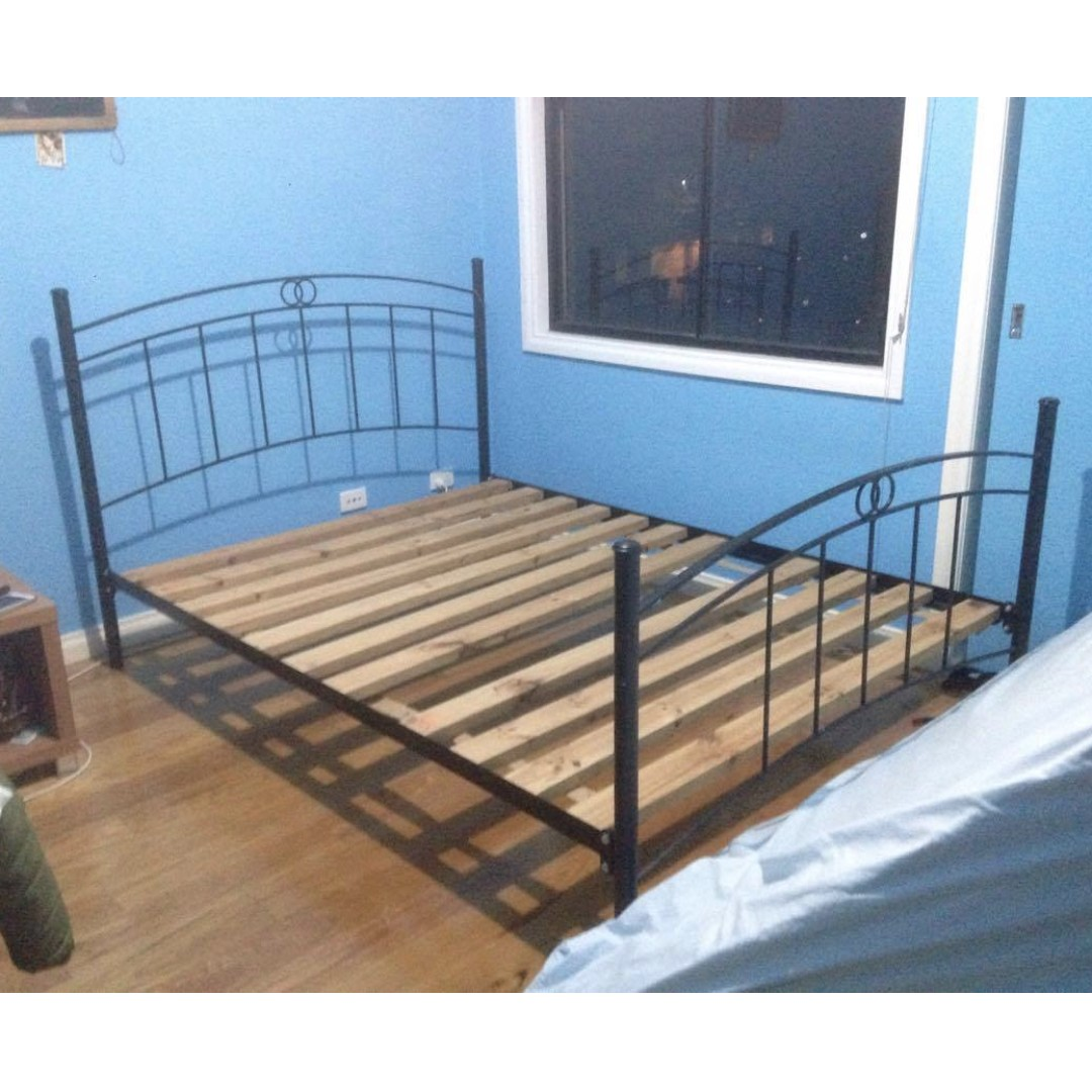 Queen sized steel bed frame