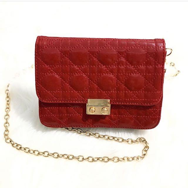 Red Dior New Mini Sling Bag