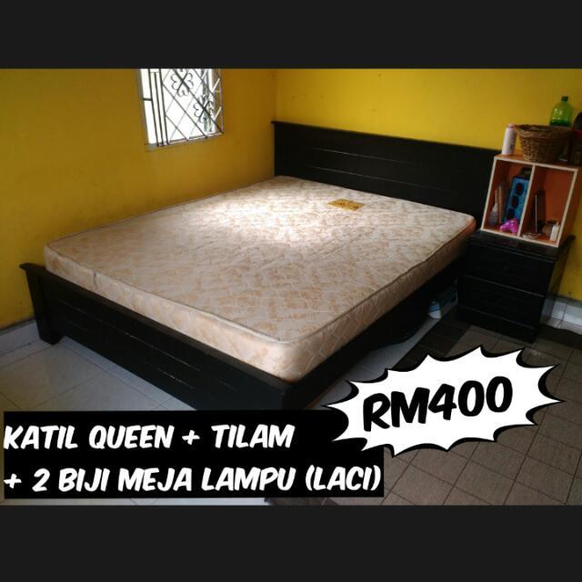 Set Katil Queen Size Tilam 2meja Lampu Home Furniture On Carou