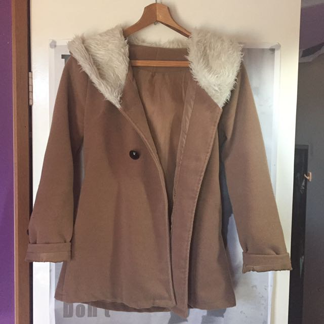 Tan Winter Jacket Faux Fur