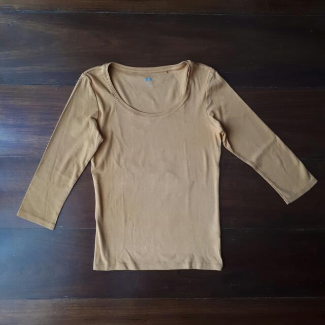 REPRICED Uniqlo Faded Mustard Yellow Orange 3/4 Sleeve Top