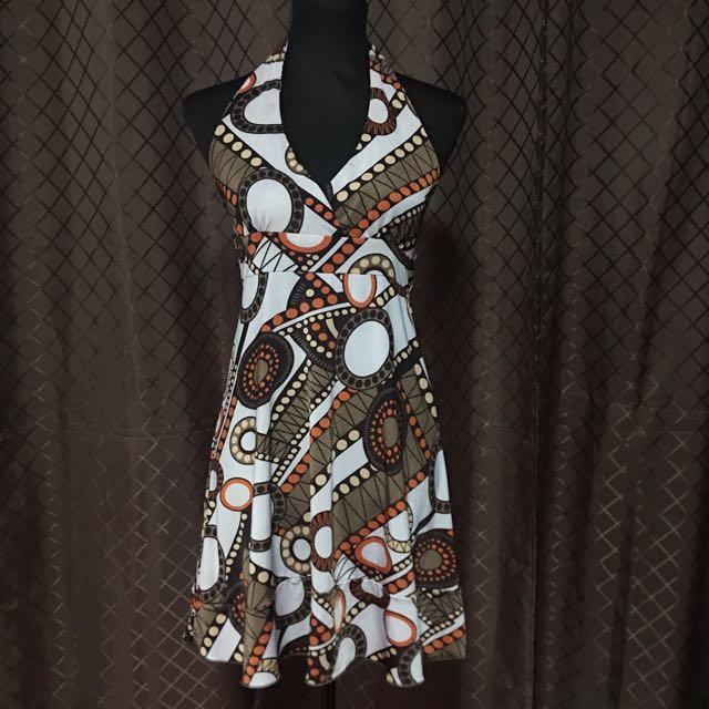V Neck Geometric Dress