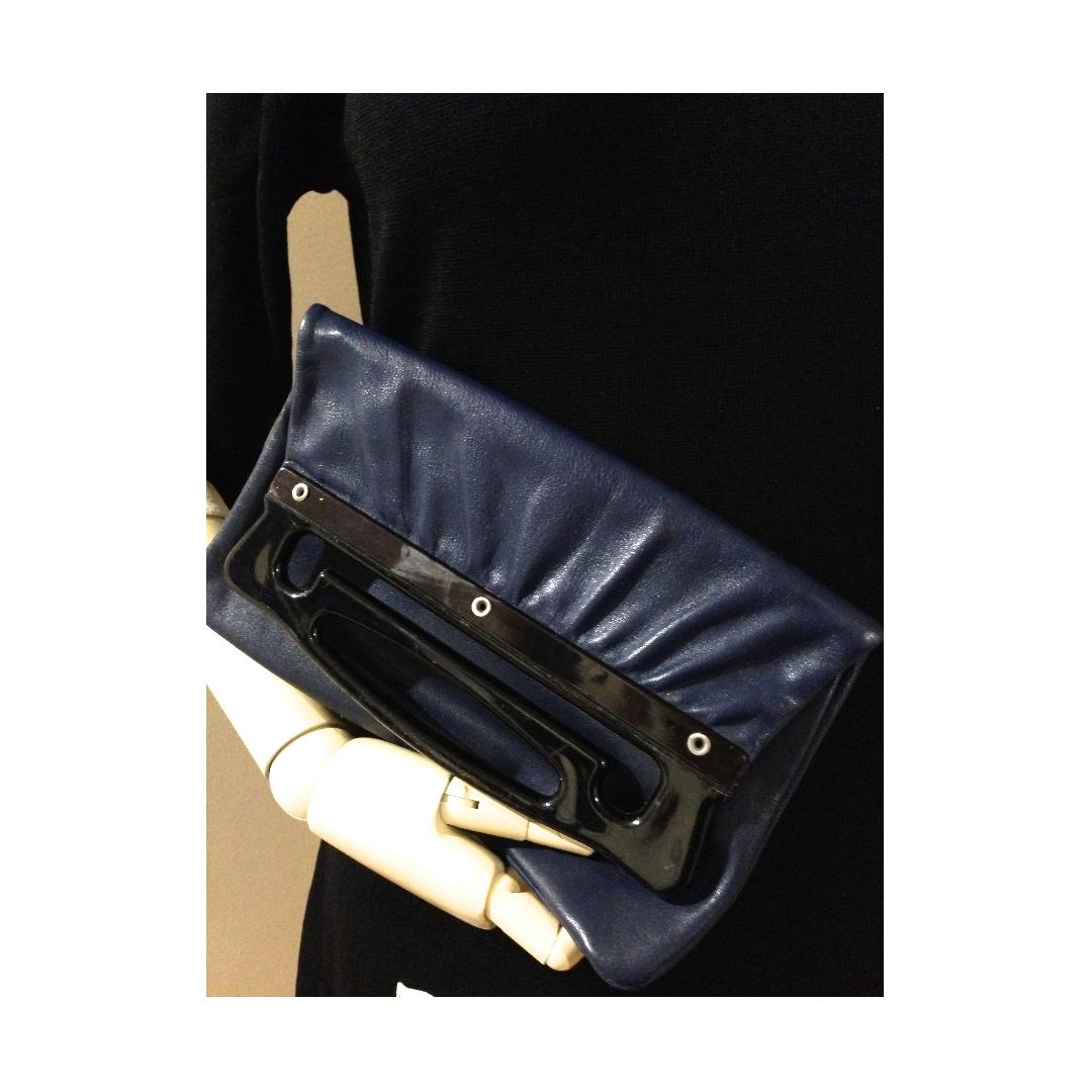 Vintage Navy Blue Genuine Leather Clutch hand bag