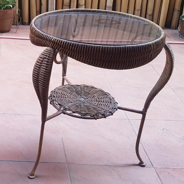 Weaved Tea Table with Glass Top