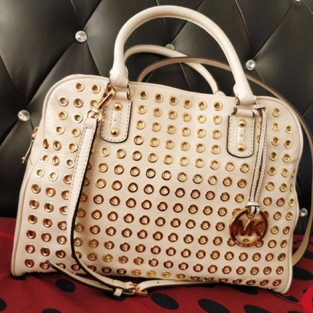 White Michael Kors Handbag With Small Gold Rings