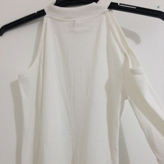 White Ribbed Cutout Long sleeve