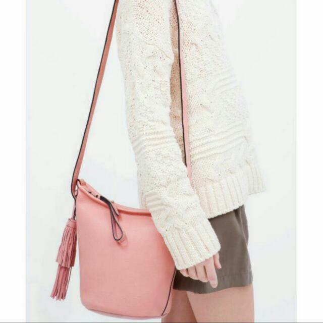 Zara Pink Leather Bucket Sling Bag