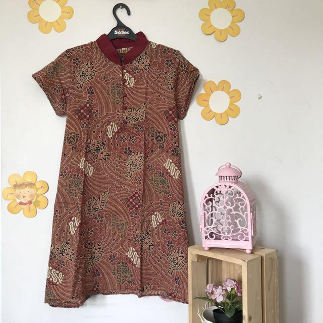 Zikin Batik Dress Oriental Maroon