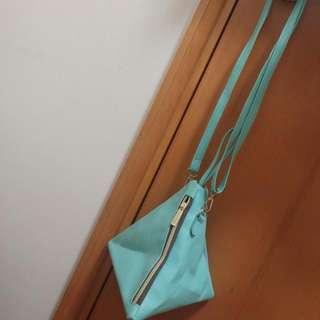 Mint Green Triagular Crossbody And Wristlet Bag