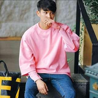 Oversized Korean Men's Pink Tee