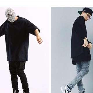 Oversized Korean Men's Black Tee