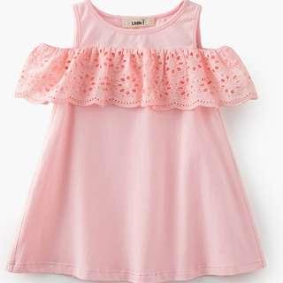 Hollow Out Lace Floral Dress Kids Off-Shoulder Dresses Girl Model Number:QZ2006-A4