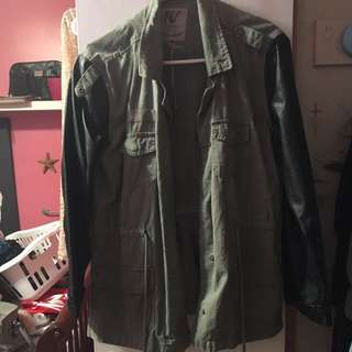 Green Jacket Leather Arms