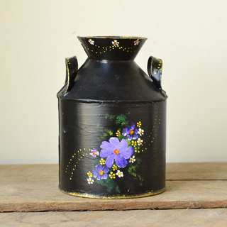 Vintage Hand Painted Tin Vase