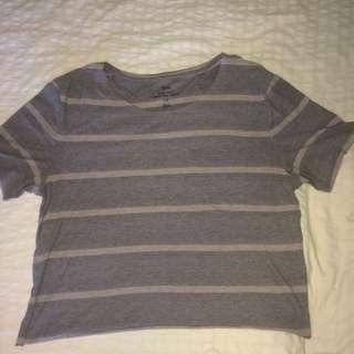 Grey And Pink Stripes Short-sleeved Shirt