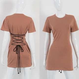 ALICE SELECT 歐美膚色簡約棉質收腰綁繩長版上衣