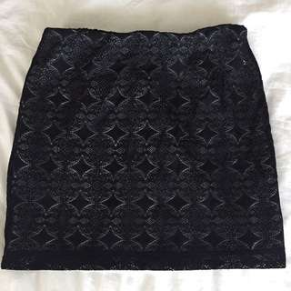 Black Patterned Bodycon Skirt - Small
