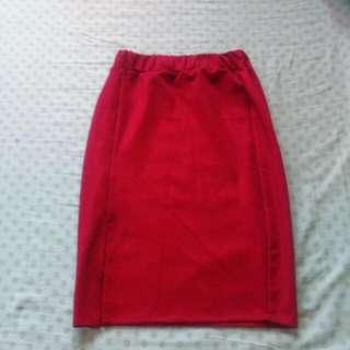 Maroon Knee Level Skirt