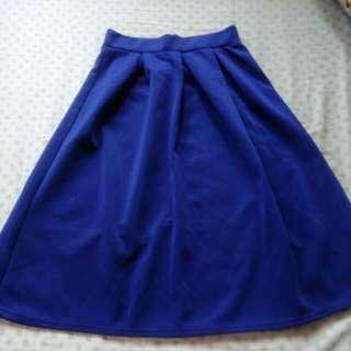 Blue Knee Level Skirt