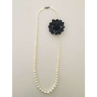 Long White Pearl Necklace Black Flower