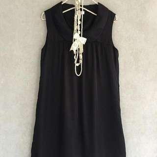 (含運)專櫃品牌【U.db】典雅夏姿M'SGRACY風光澤感黑色娃娃領抓褶人造絲連身裙