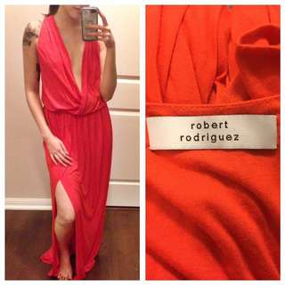 ROBERT RODRIGUEZ Faux Wrap Maxi Dress - Orange, size Small