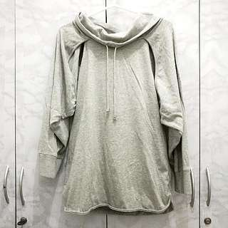 Unbranded Gray Cowl Neck Backless Pullover