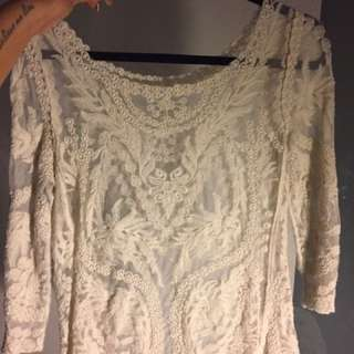 Lace Top Beige/white