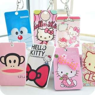 韓國創意卡通 / 可愛卡通卡套 / 工作證件套/ 凱蒂貓門禁卡夾鑰匙扣