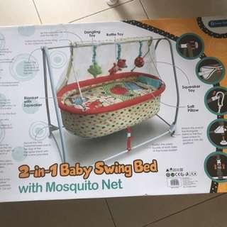 2-in1 baby swing bed with mosquito net