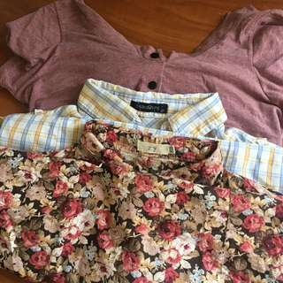 1 Folded& Hung Grid Polo, 1 Floral Polo, 1 Nude Pink With Stripes Pocket